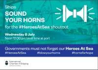 Horns for Hope -#HeroesAtSeaShoutout on Wednesday 8 July at 12.00 local time.