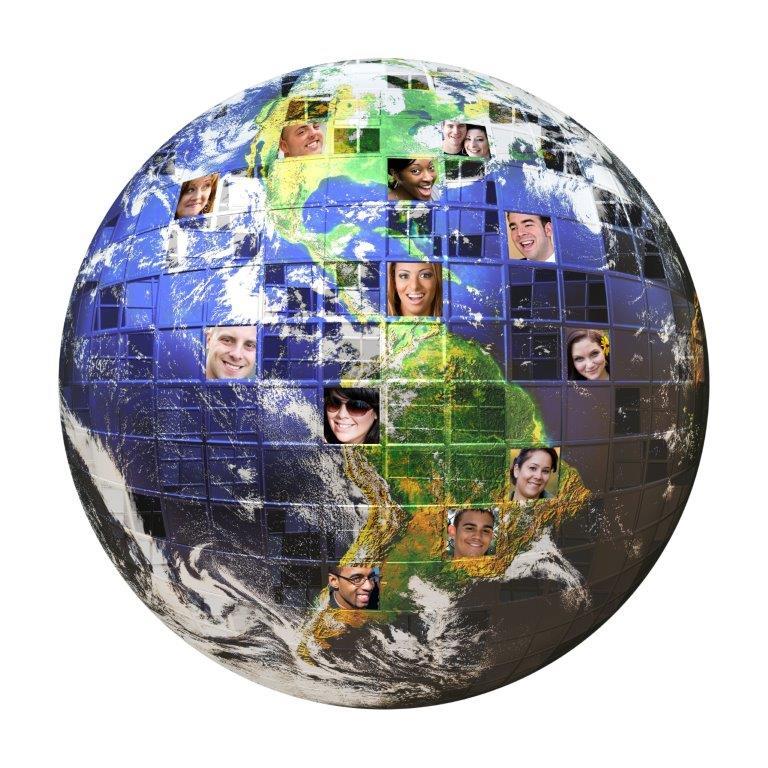 Wereldbol met mensen